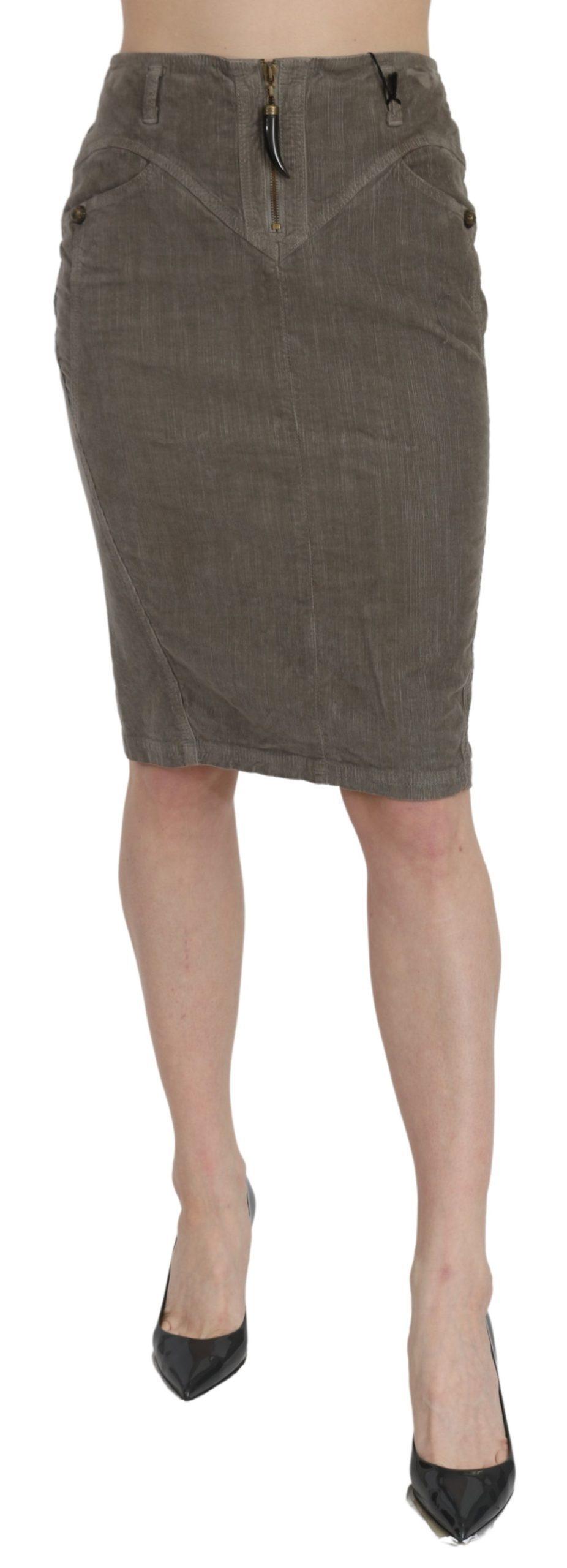 Roberto Cavalli Women's High Waist Pencil Skirt Gray PAN70988 - IT44|L