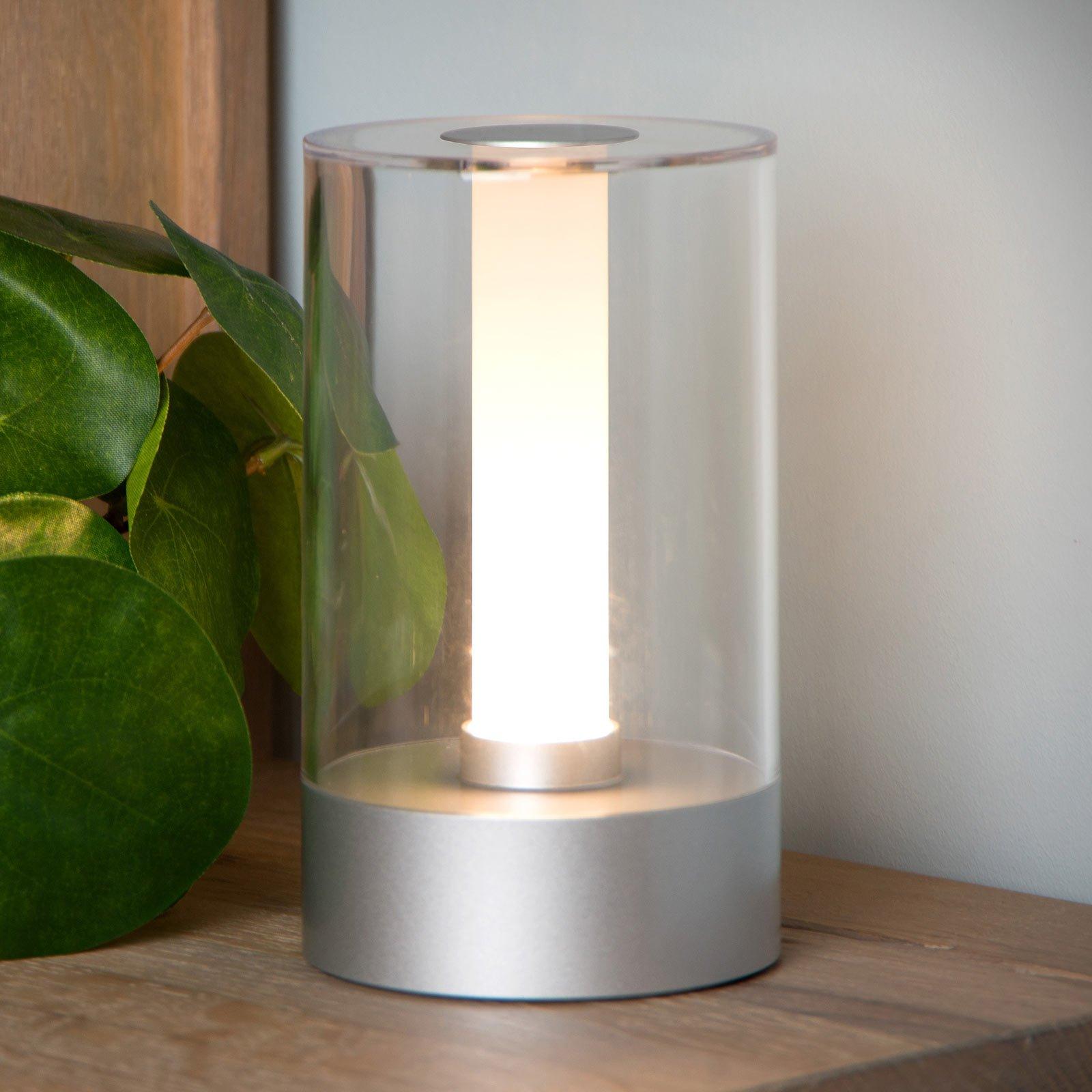 Tribun bordlampe med batteri og dimmer matt krom