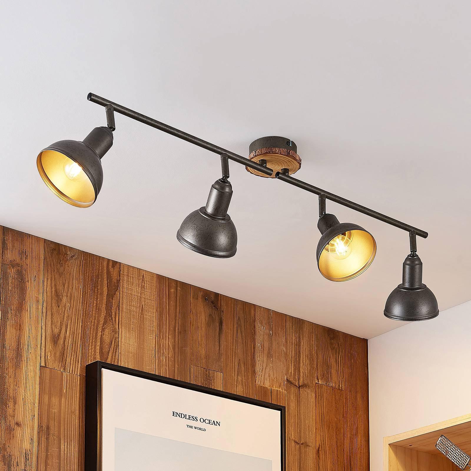 Lindby Nesrin taklampe med treskive, 4 lyskilder