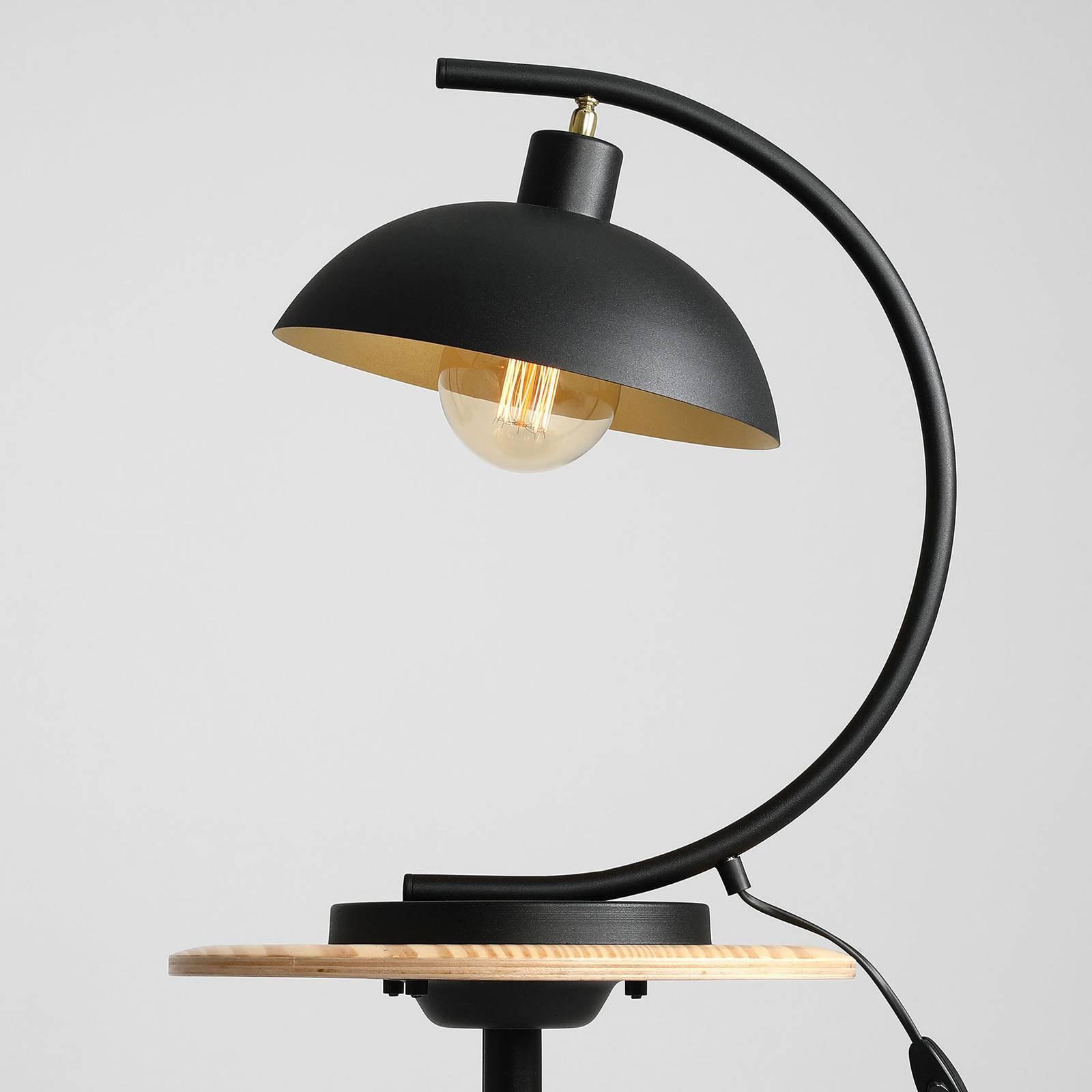 1036 bordlampe, 1 lyskilde, svart-gull
