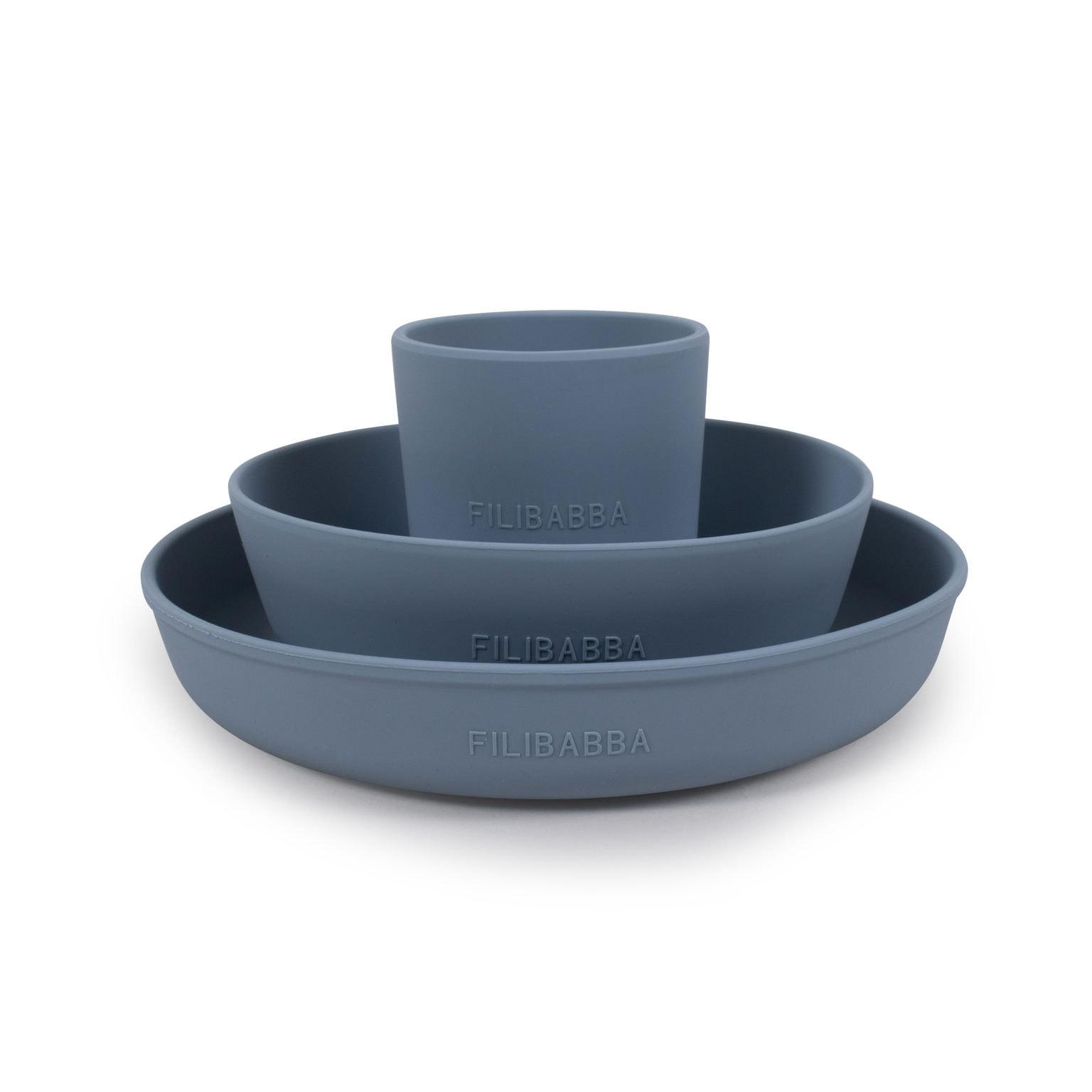 Filibabba - Silicone Dinner set, Powder blue (SI015)