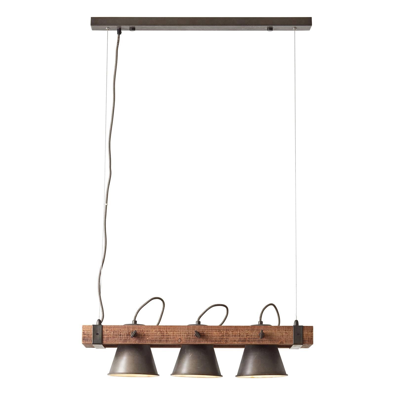 Riippuvalaisin Plow 3-lamppuinen, musta/puu tumma