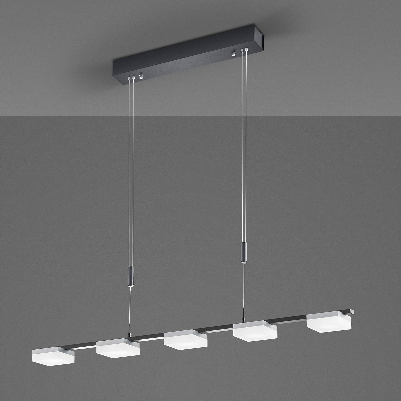 Bopp Quad -LED-riippuvalo, 5-lamppuinen, alumiini