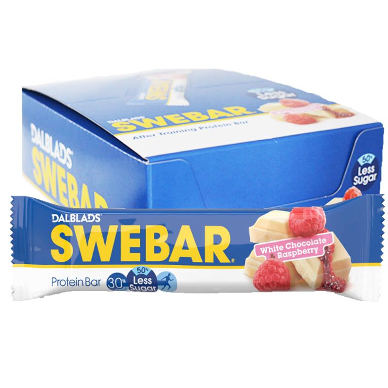 """Hel Låda Proteinbars """"White Chocolate & Raspberry"""" 20 x 50g - 40% rabatt"""