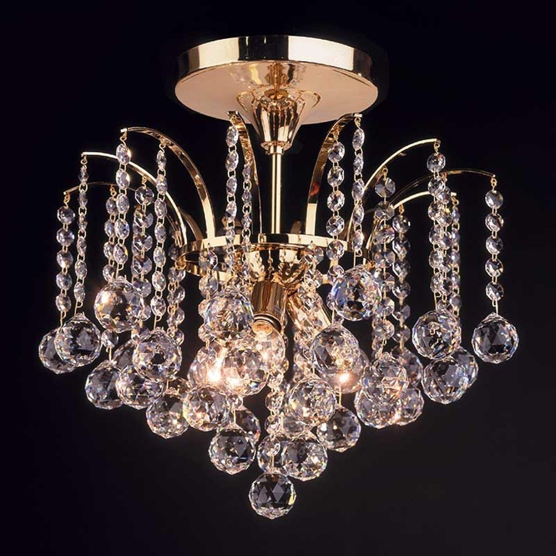 LENNARDA taklampe i krystall og gull 42 cm