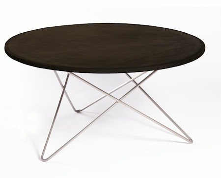 O-table leather sofabord – Black/stainless