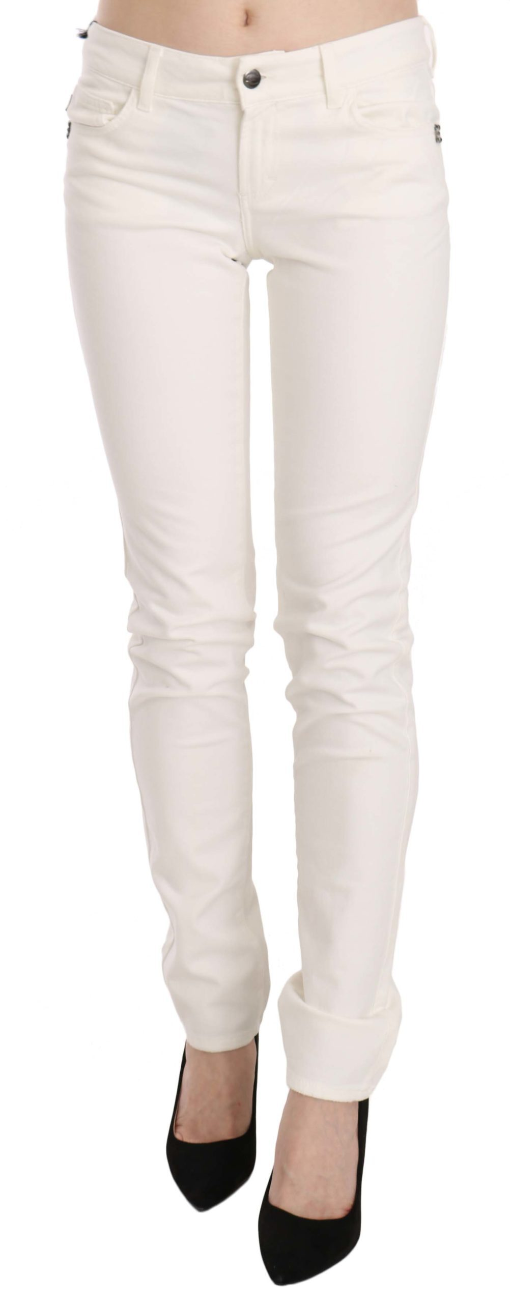 Cavalli Women's Cotton Low Waist Skinny Denim Trouser White PAN70350 - W28