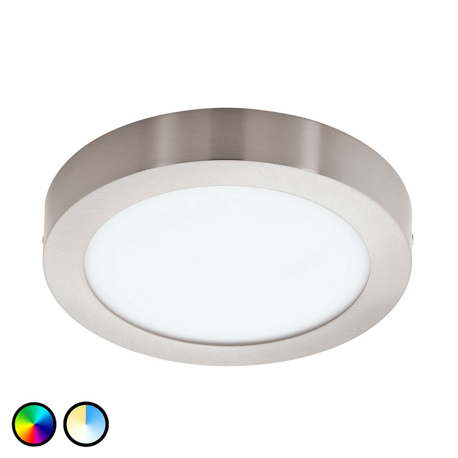 EGLO Connect Fueva-C taklampe rund 22,5 cm nikkel