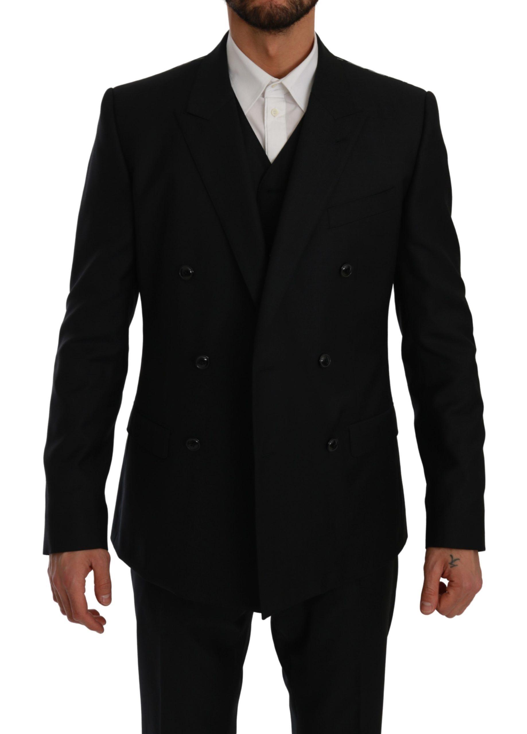 Dolce & Gabbana Men's Double Breasted 3 Piece MARTINI Suit Blue KOS1758 - IT50   L