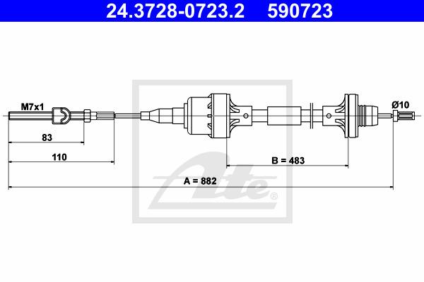 Kytkinvaijeri ATE 24.3728-0723.2