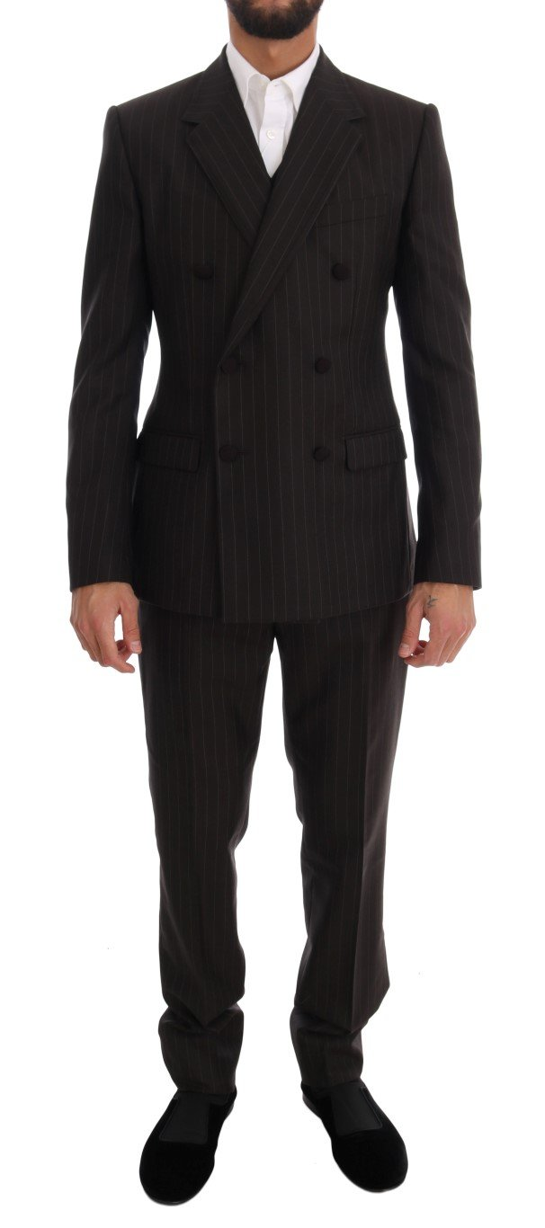 Dolce & Gabbana Men's Striped Double Breasted 3 Piece Suit Brown KOS1068 - IT48   M