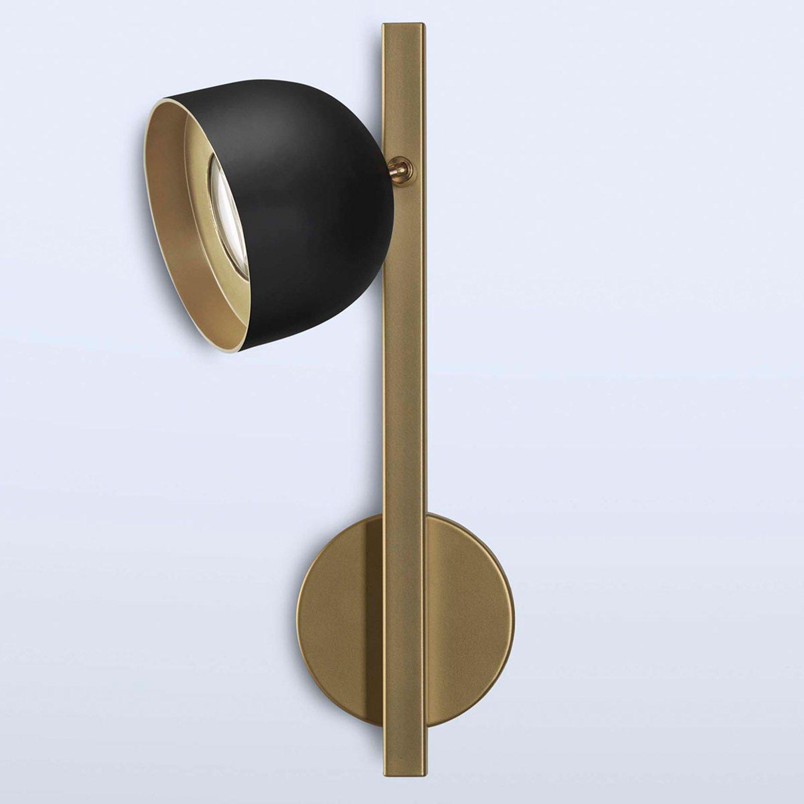 Dome LED-vegglampe svart med rett stang