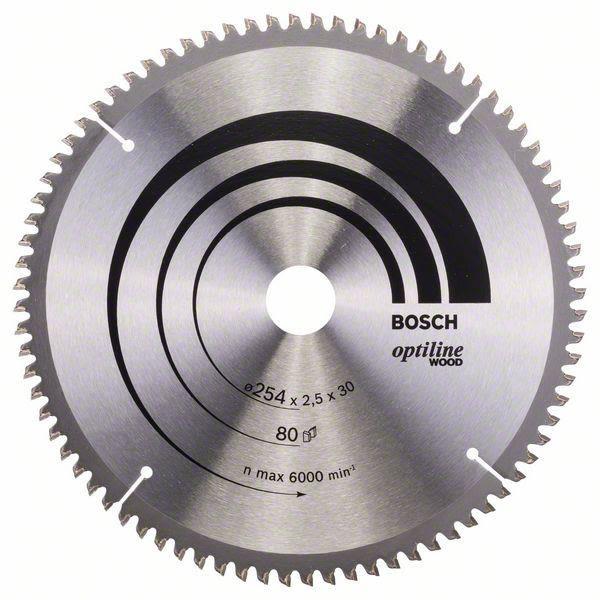 Bosch 2608640437 Optiline Wood Sagklinge 254x2,5x30 mm, 80T