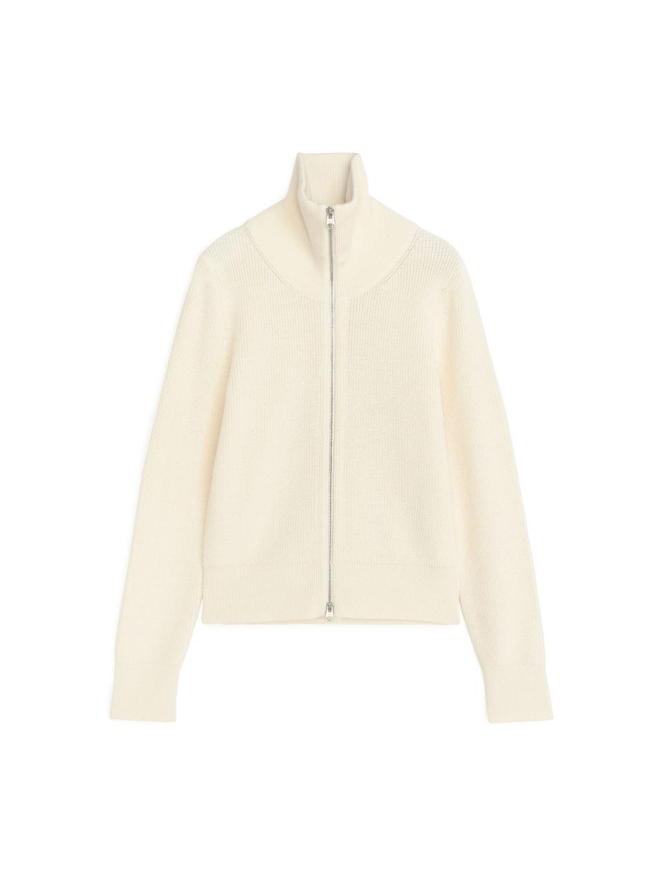 Wool Cotton Zipped Cardigan - White