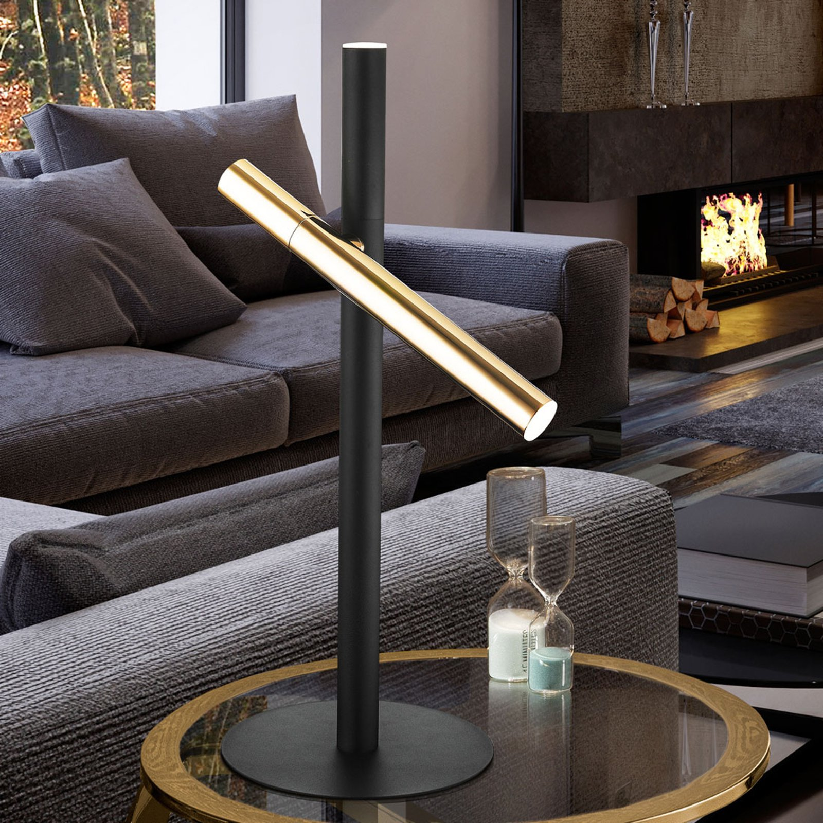 LED-bordlampe Varas, svart/gull, 2 lyskilder