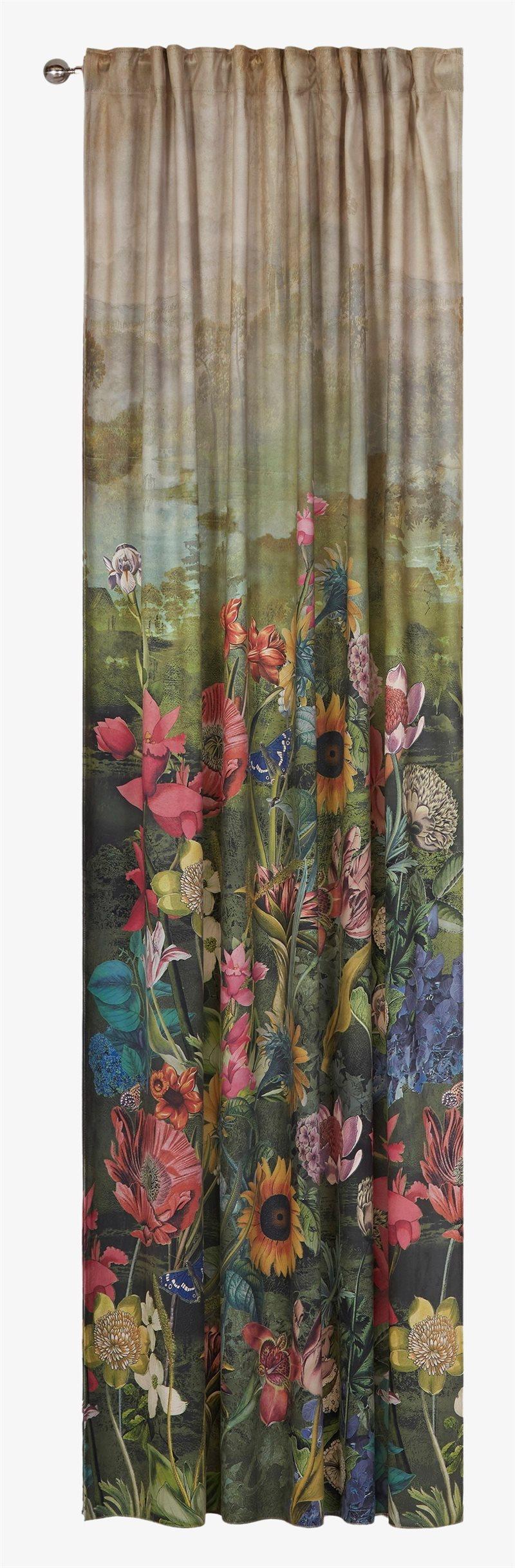 Monet kukkakuvioinen samettiverho Monet 2 kpl/pakkaus