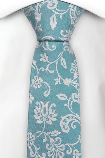 Silke Smale Slips, Cyan blå, gulhvit fiskebeinmønstrete blomster, Notch LEANDER