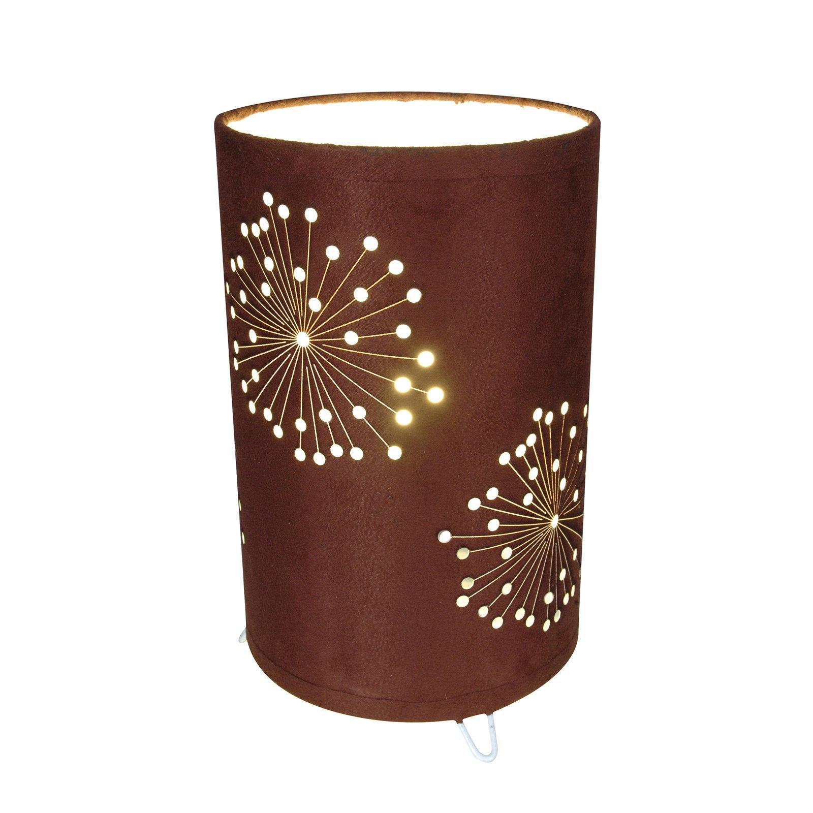 Aurona bordlampe i brunt stoff