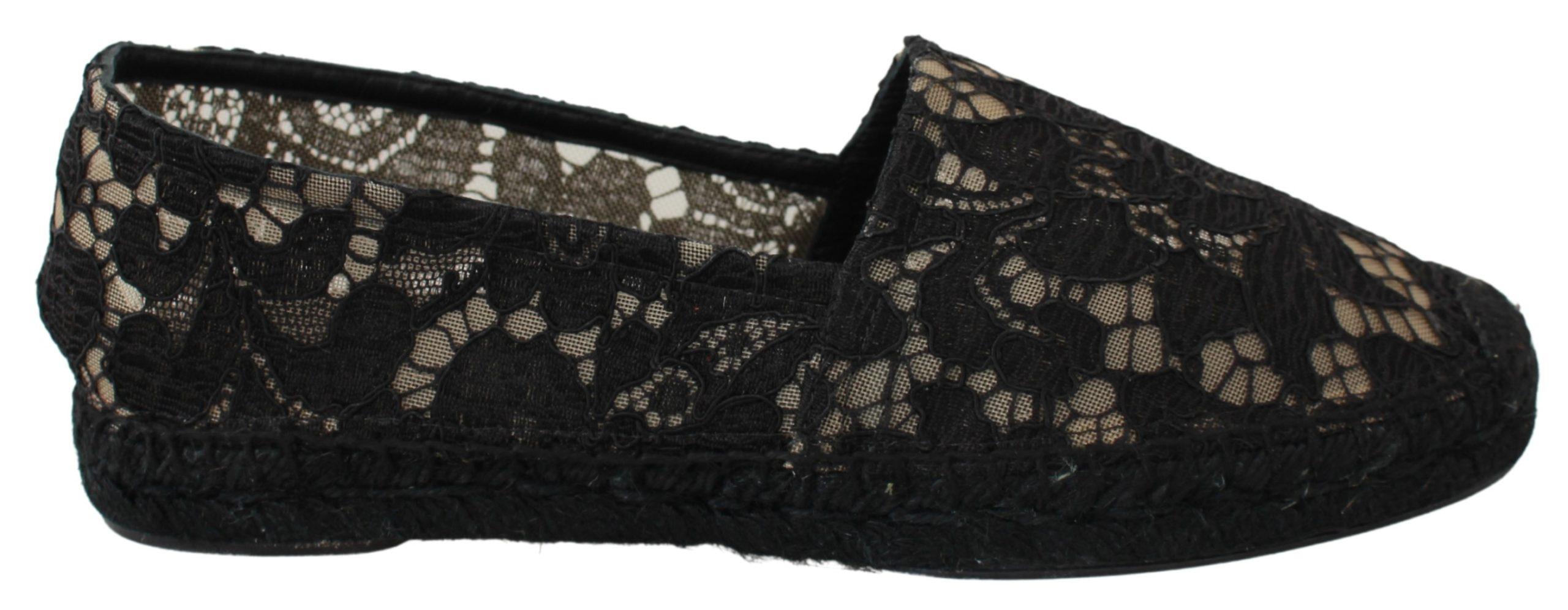 Dolce & Gabbana Women's Lace Cotton Espadrilles Shoes Black LA6519 - EU40/US9.5