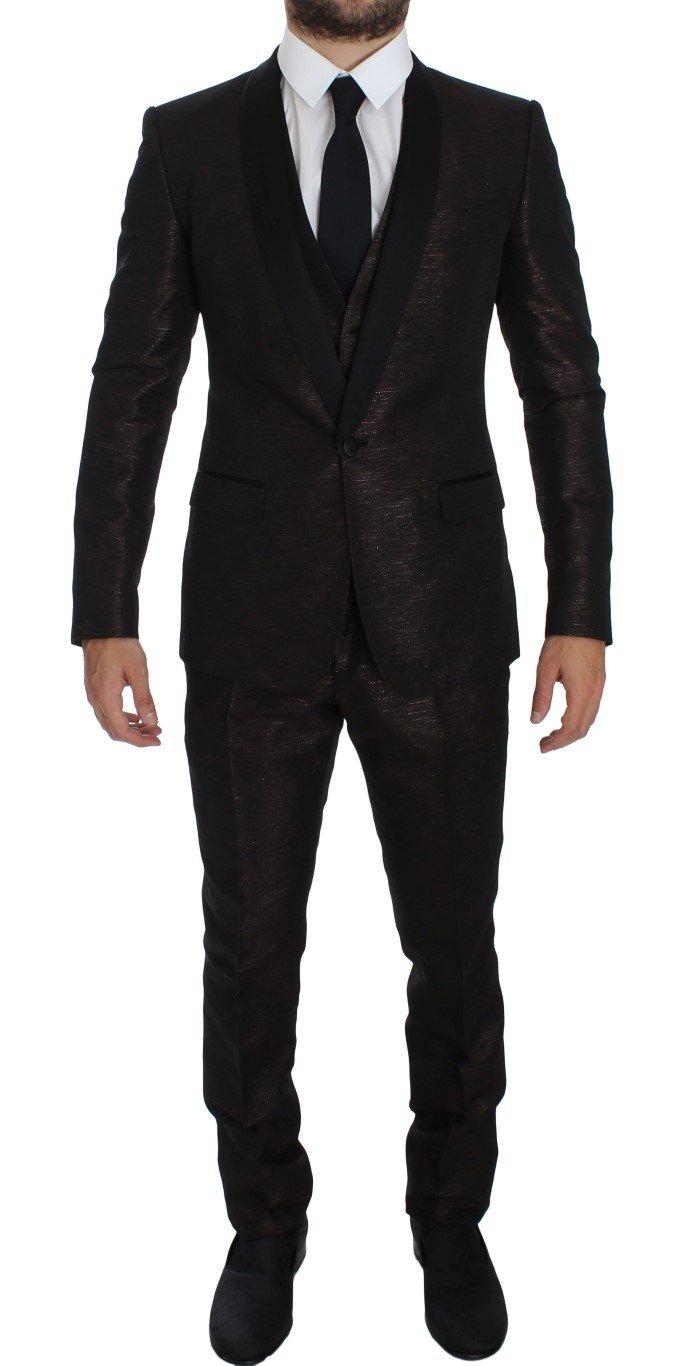 Dolce & Gabbana Men's Shiny 3 Piece Slim Suit Tuxedo Black GTT10181 - IT50 | L