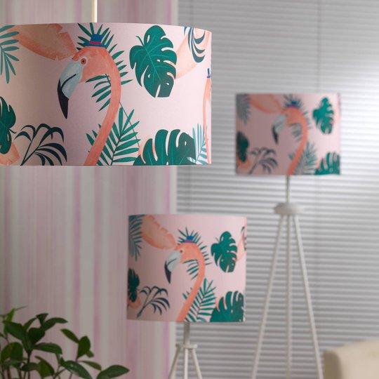 Flamingo bordlampe med tekstilskjerm, høyde 57 cm