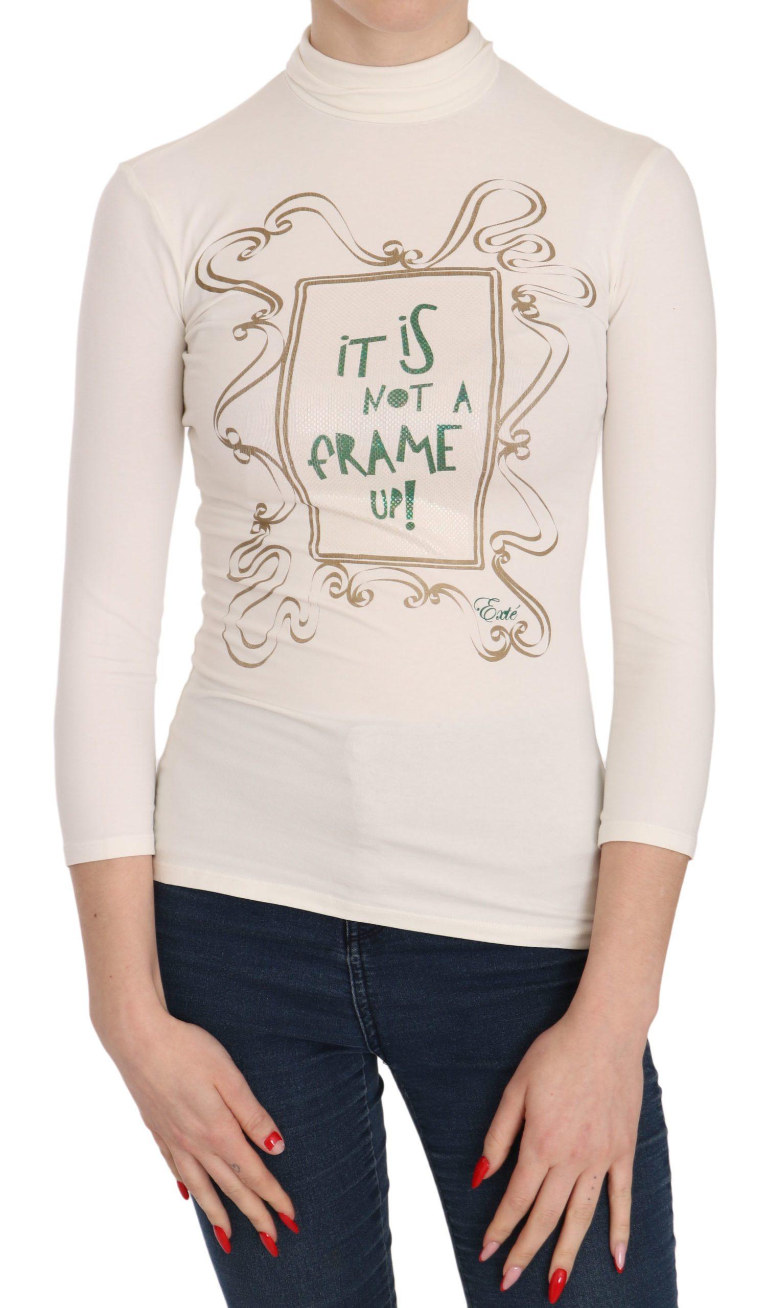 Exte Women's Neck Print Top White TSH3717 - IT38|XS
