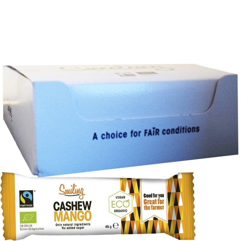 """Laatikollinen Luomu Patukoita """"Cashew & Mango"""" 20 x 45g - 34% alennus"""