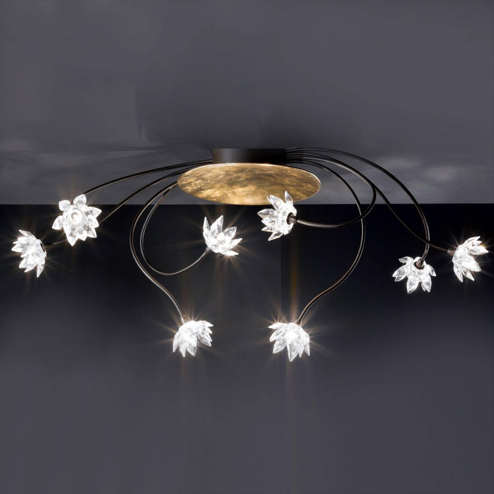 Klar, blomstret FIORELLA taklampe med åtte lys