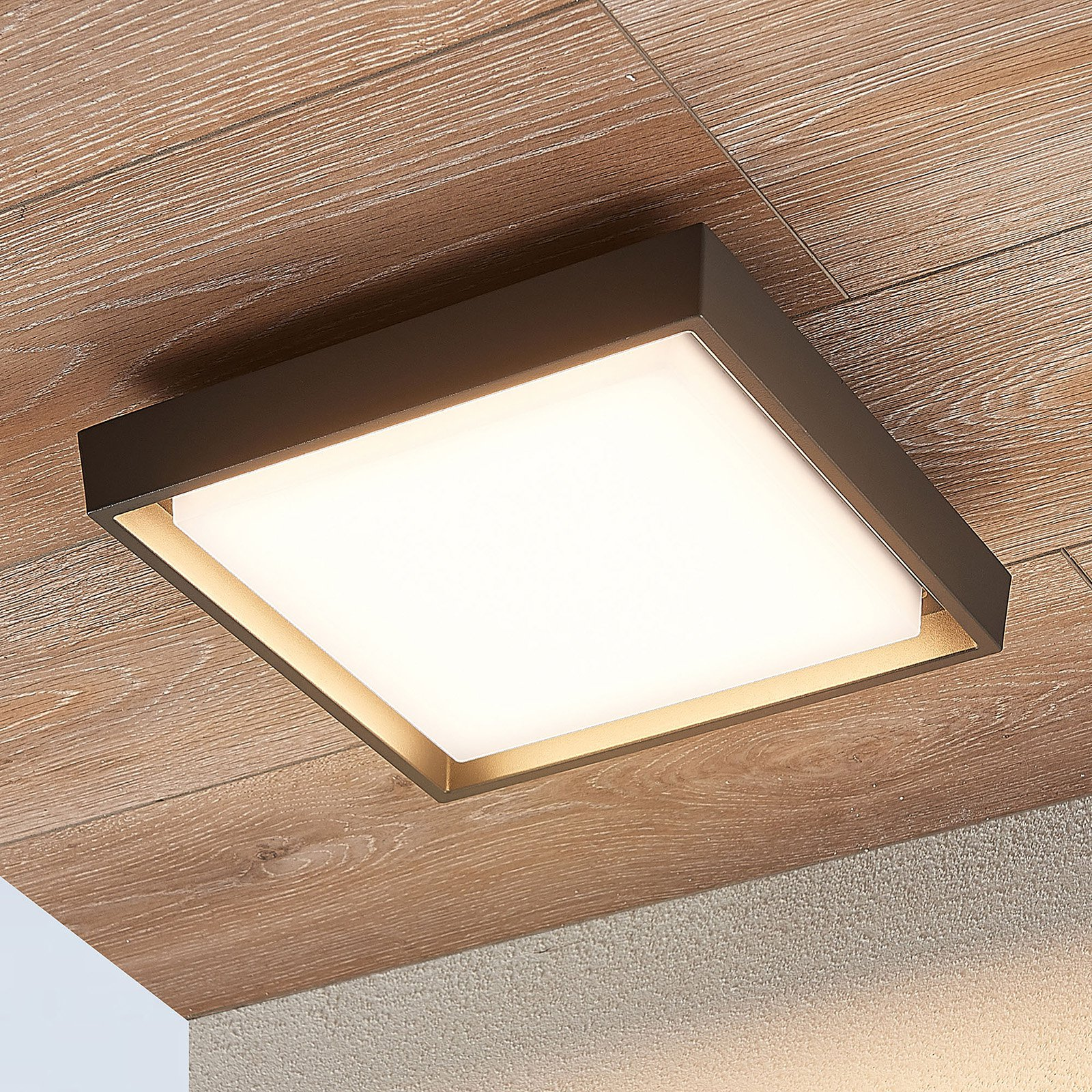 LED-utetaklampe Birta, kantet, 27 cm