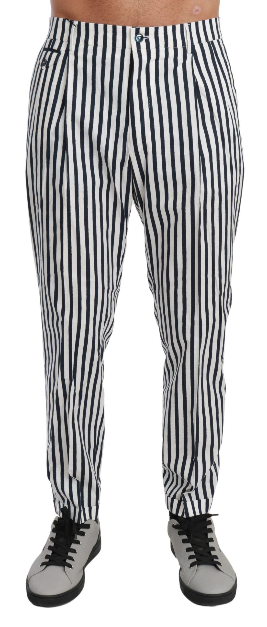 Dolce & Gabbana Men's Striped Casual Cotton Trouser White PAN71007 - IT48 | M