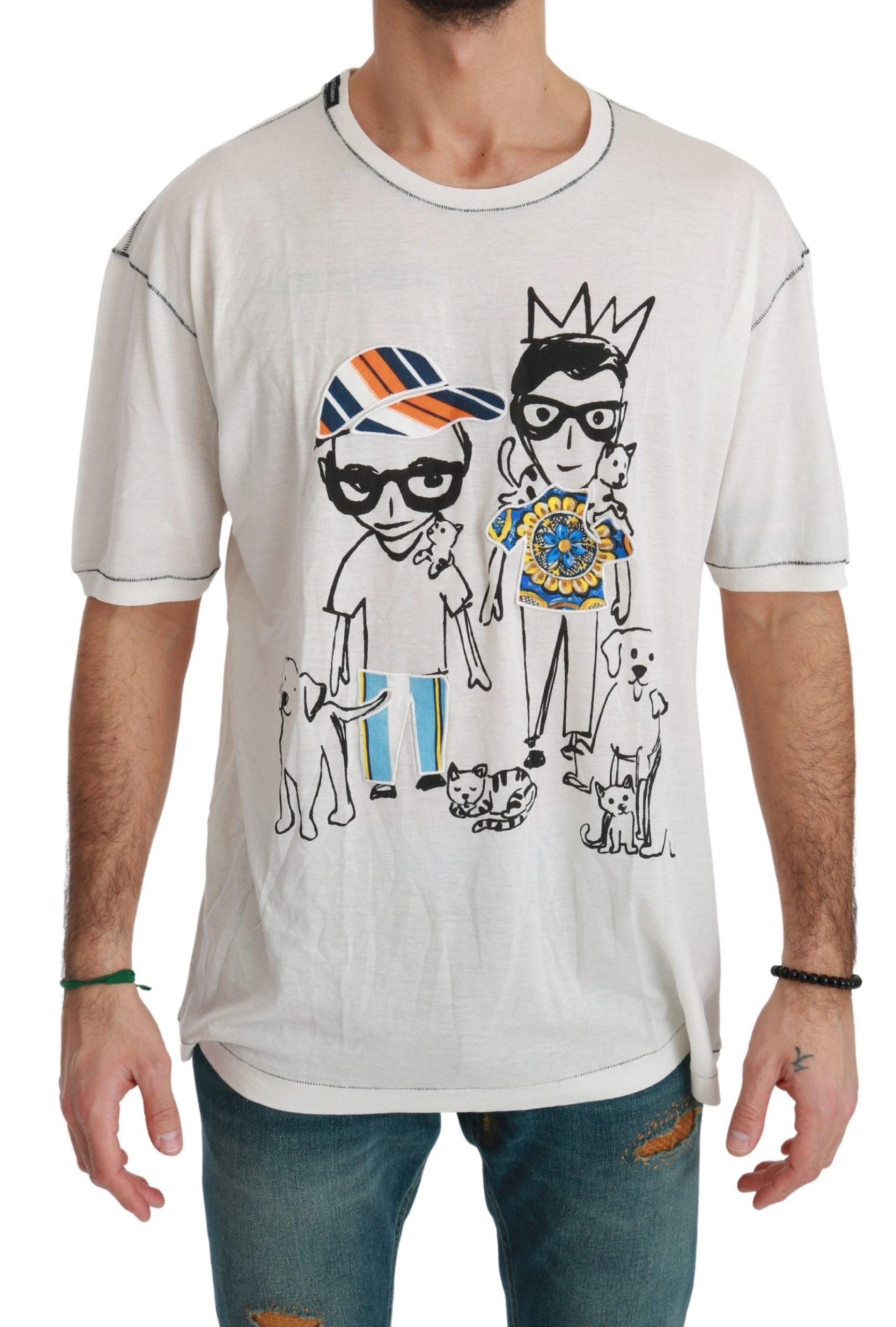 Dolce & Gabbana Men's Print Cotton T-Shirt White TSH4510 - IT50   L