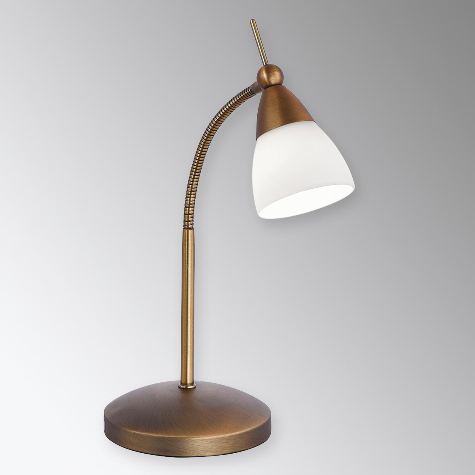 Klassinen LED-pöytälamppu Pino, vanha messinki
