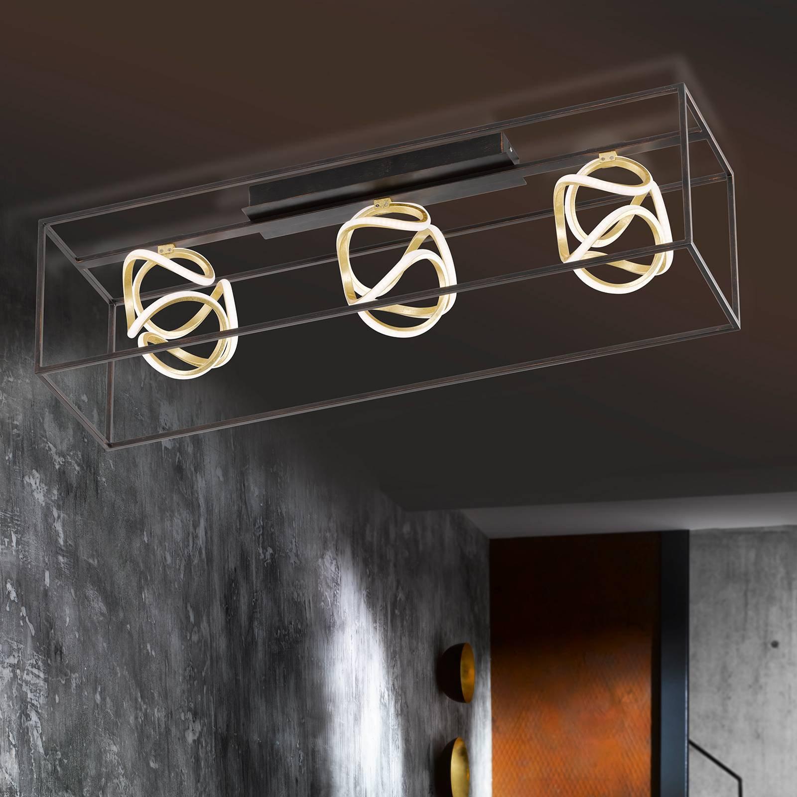 LED-hengelampe Gesa med metallbur