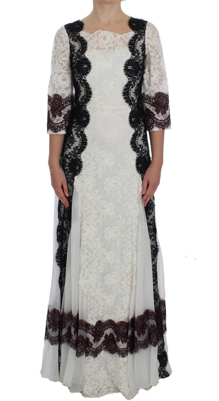 Dolce & Gabbana Women's Floral Lace Full Length Gown Dress White NOC10174 - IT38|XS