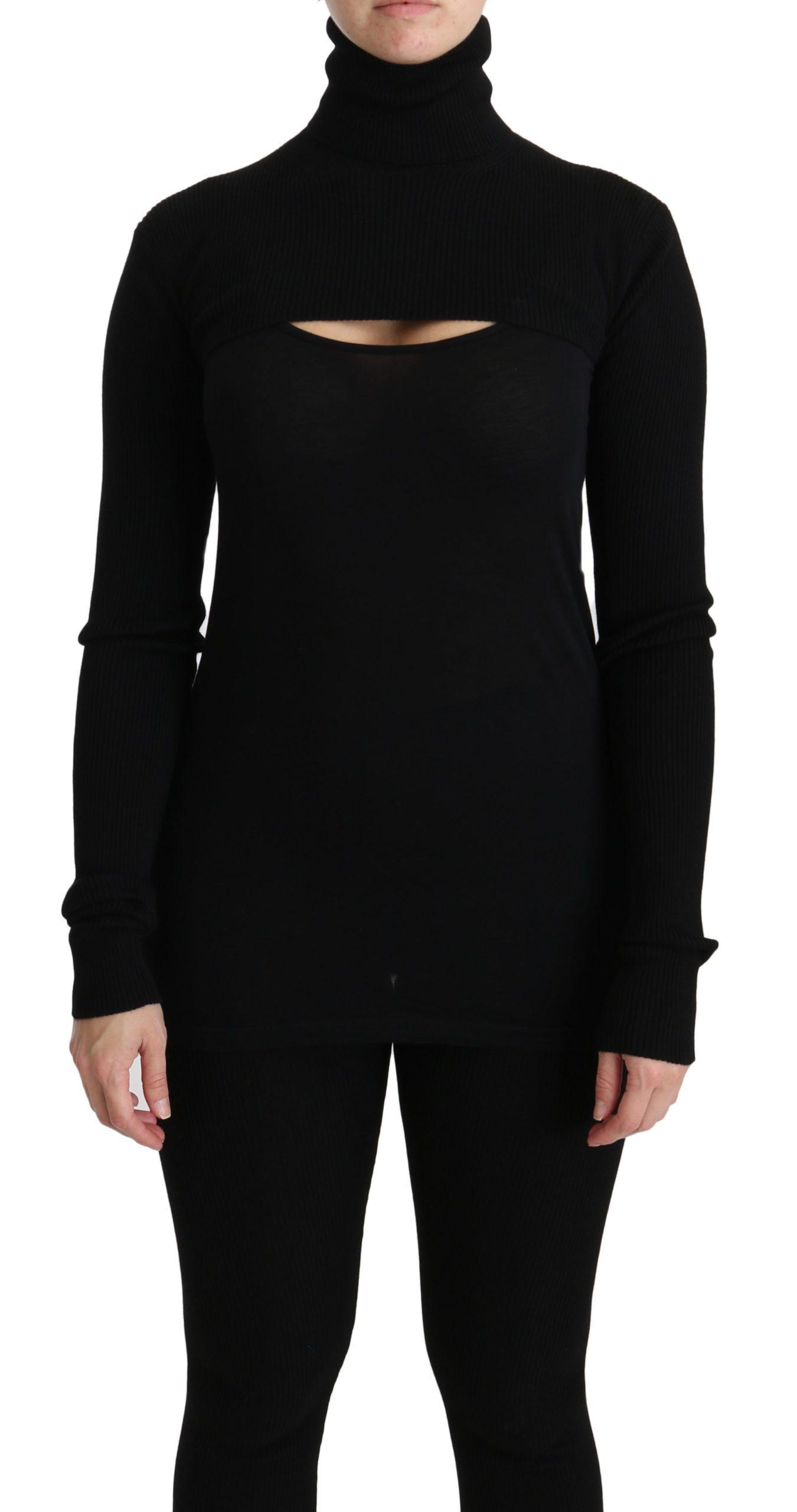 Black Turtleneck Crop Top Wool Sweater - IT40|S