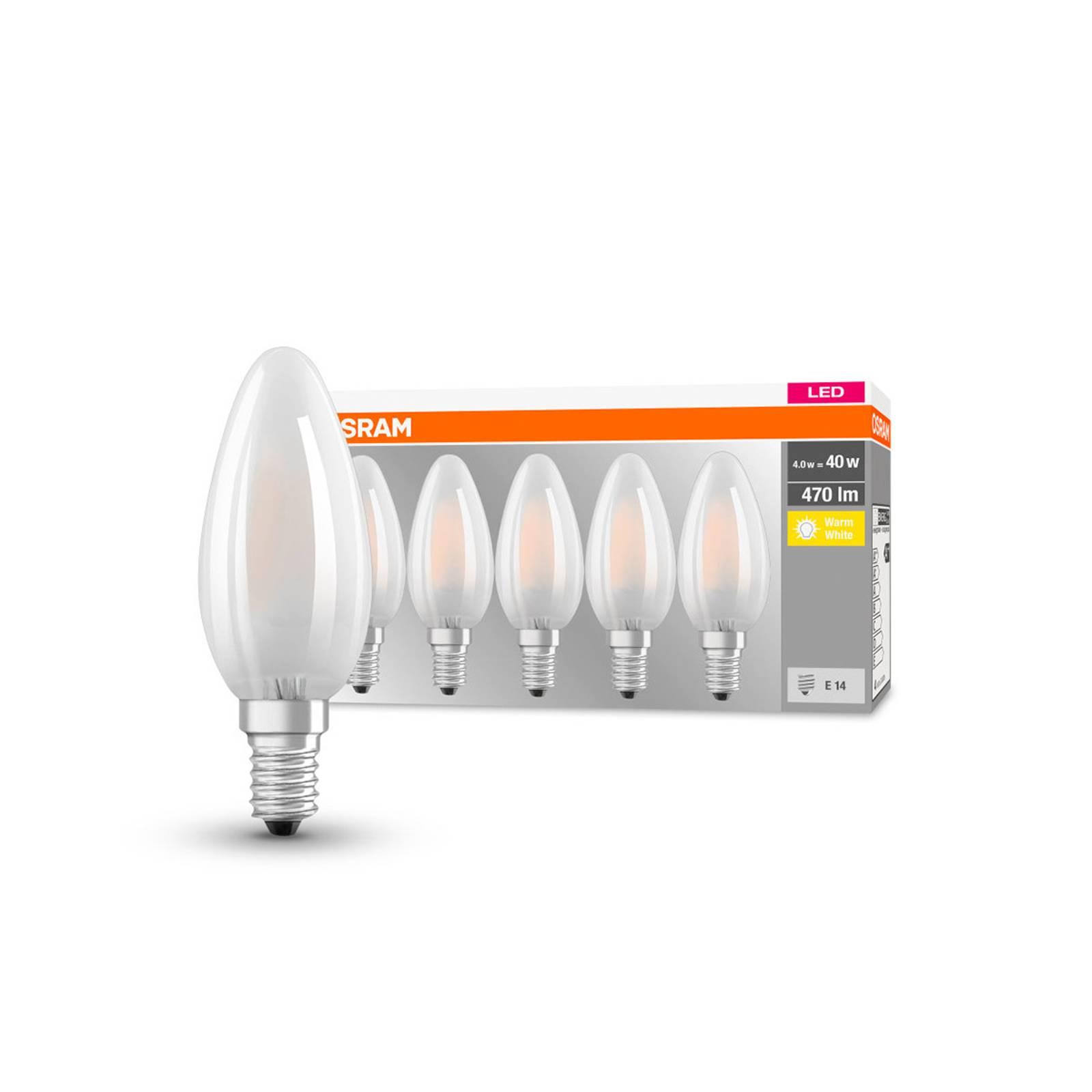 OSRAM-LED-kynttilälamppu E14 4W 2700K 470lm 5 kpl