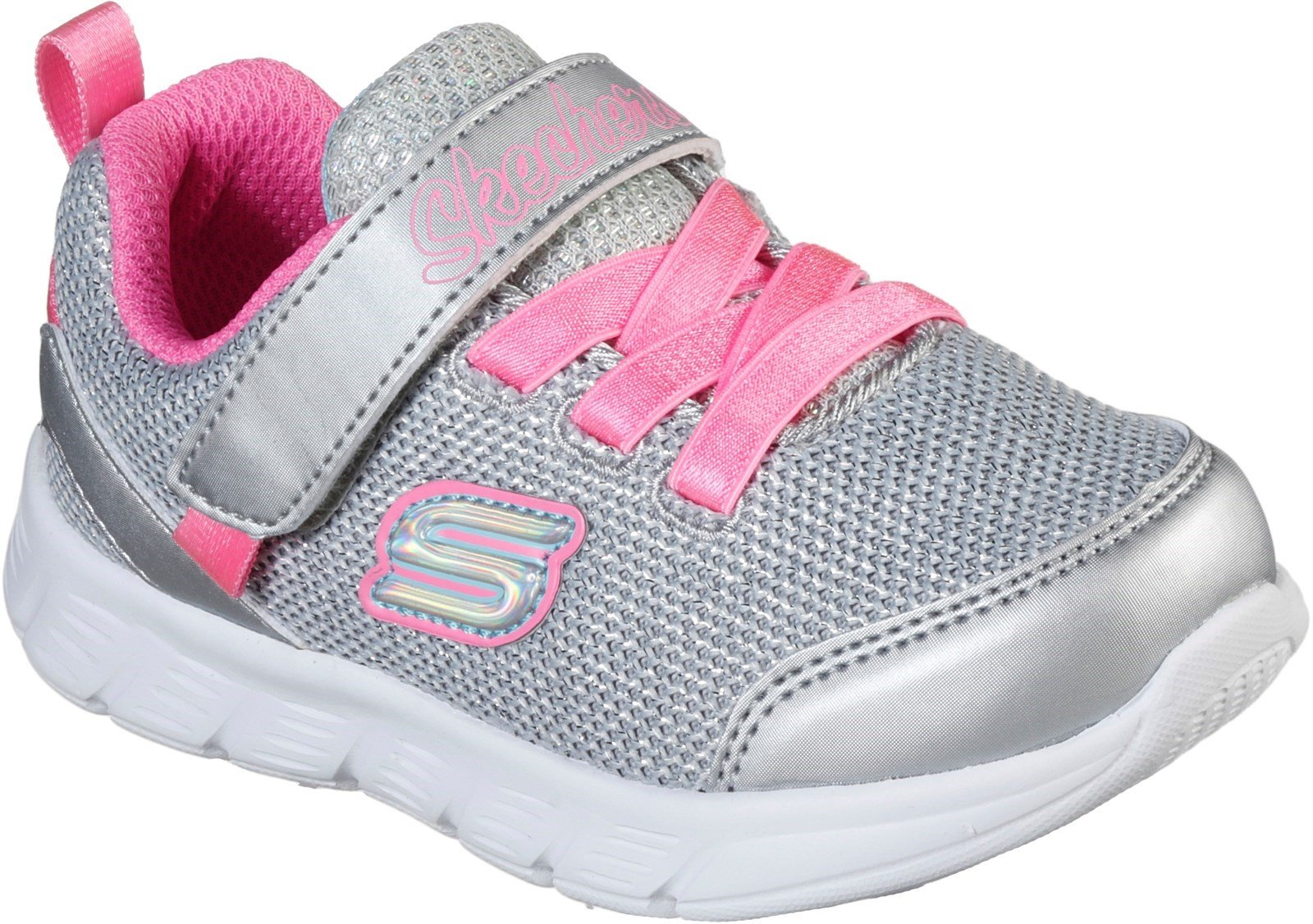 Skechers Kid's Comfy Flex Sports Trainer Various Colours 31139 - Silver/Hot Pink 4