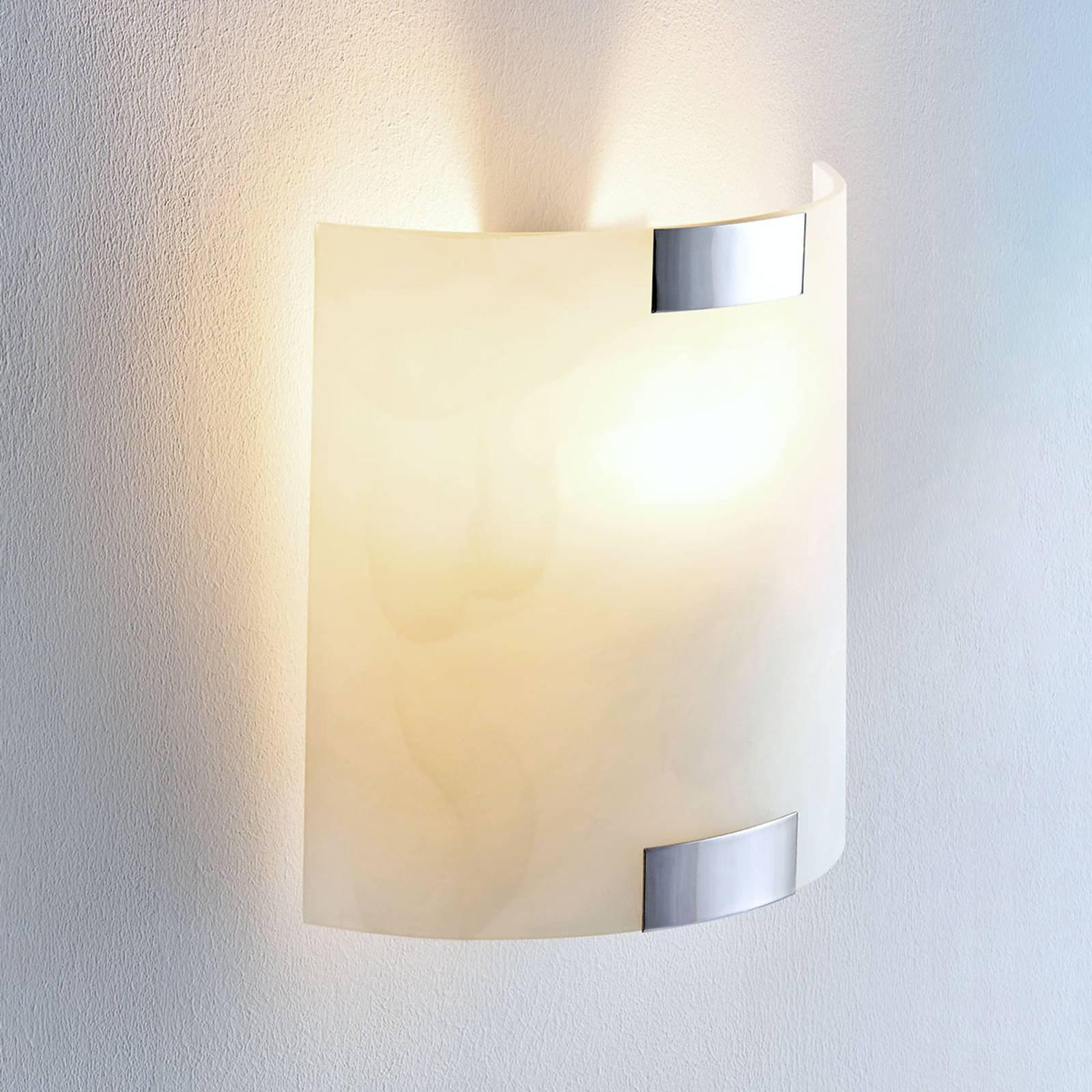 Firkantet glassvegglampe Quentin, E14 LED-pære