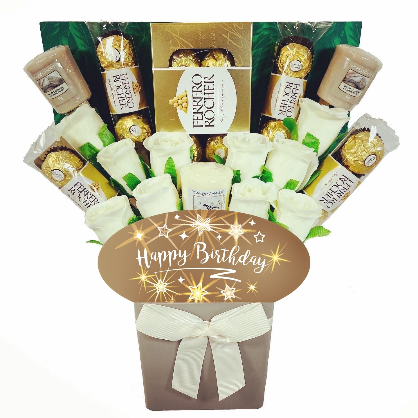 The Happy Birthday Yankee Candle and Ivory Rose Bouquet