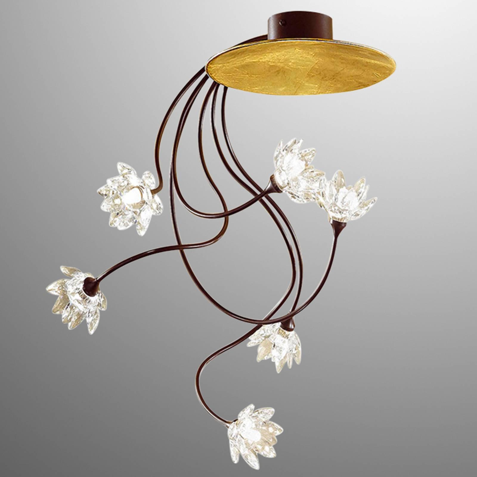 Klar, blomstret FIORELLA taklampe med seks lys