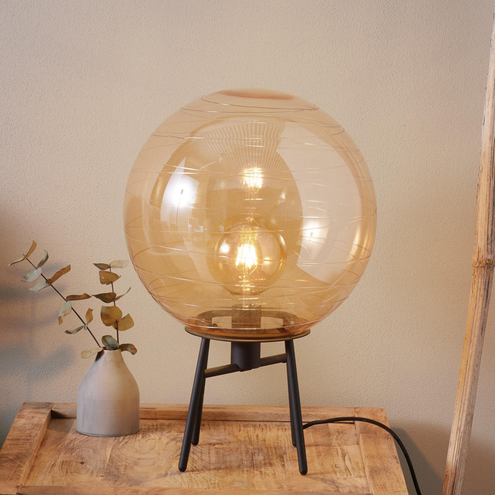 Pöytälamppu Lantaren, ambra lasi