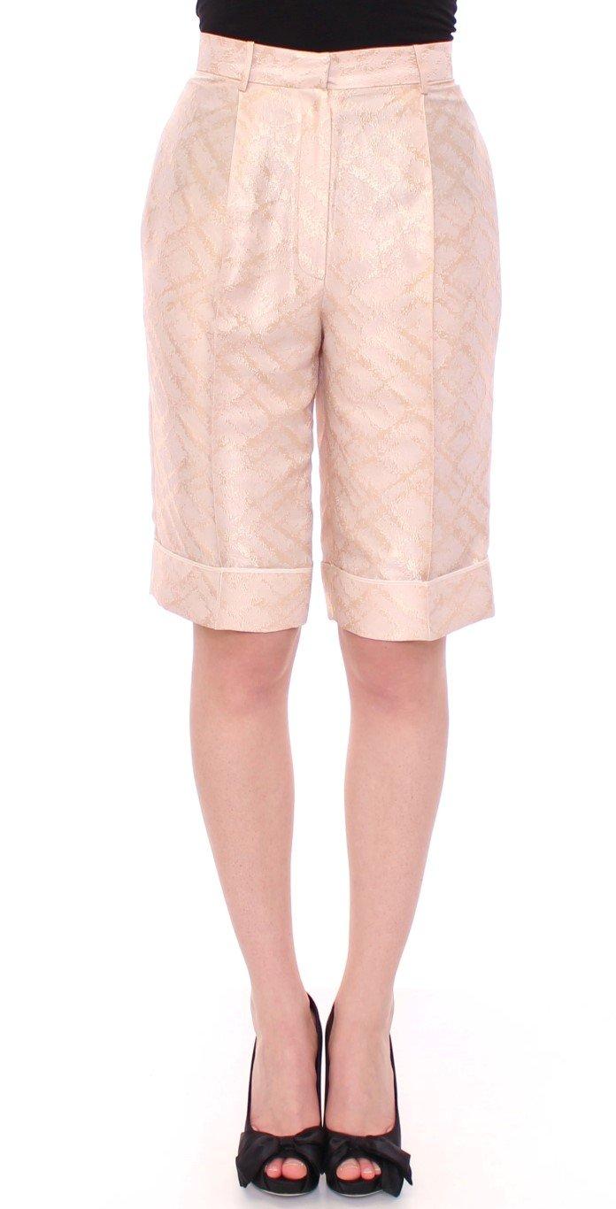 Beige Brocade Above Knee Shorts - IT44 L