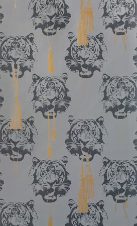 Coco tiger tapet 10 m - Grey