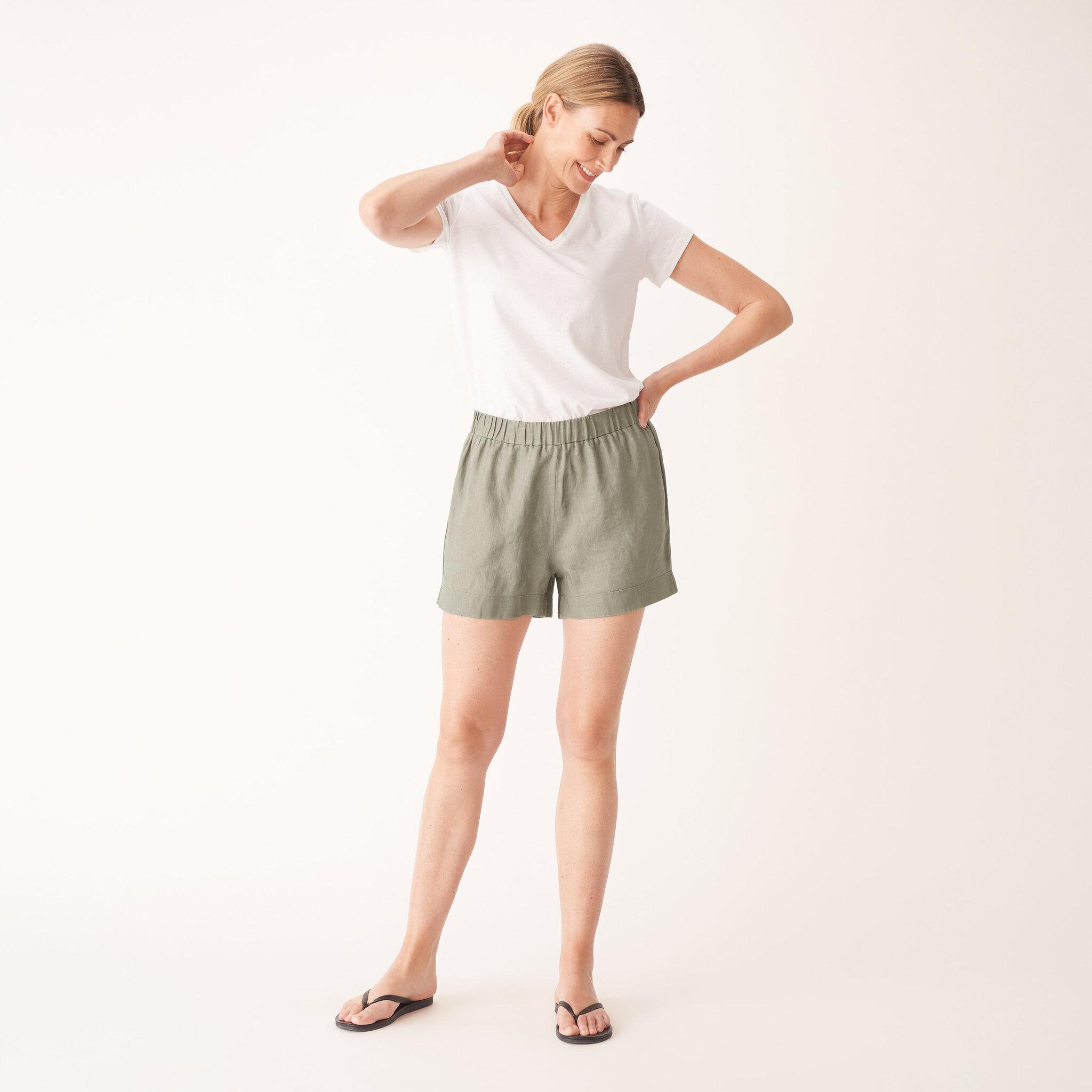 Pyjamasshorts i linne