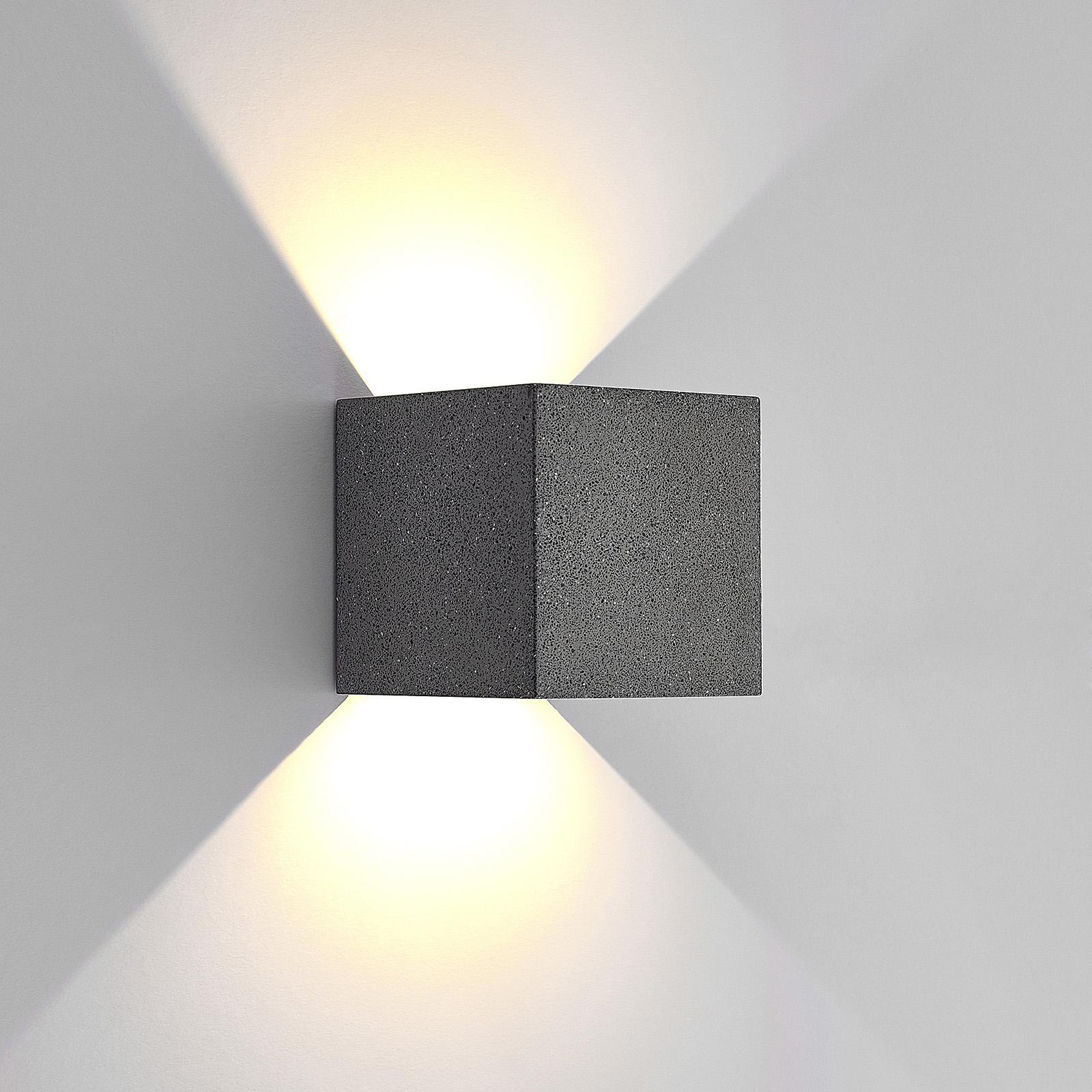 Lucande Naja -LED-ulkoseinälamppu, betonia