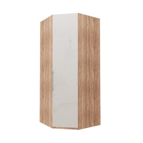 Hjørne Atlanta garderobe 236 cm, Hvitt glass, Lys rustikk eik