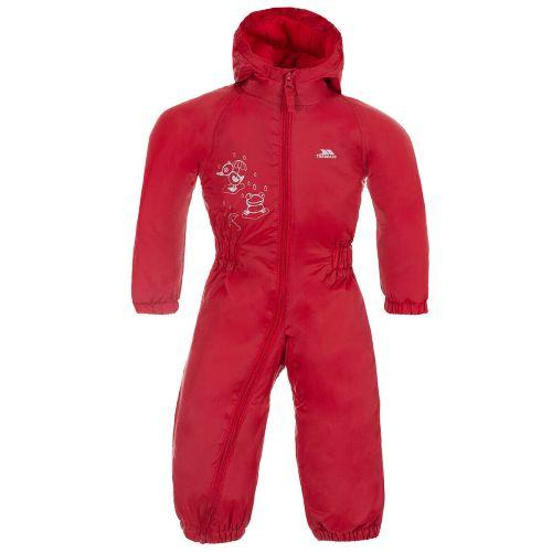 Trespass Kid's Padded Waterproof All-In-One Suit Various Colours Dripdrop - Signal Red 6 to 12 Months