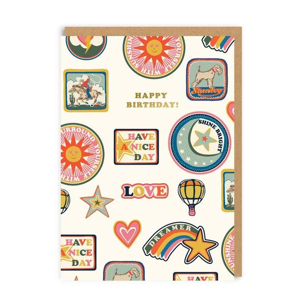 Birthday Patches AOP Greeting Card