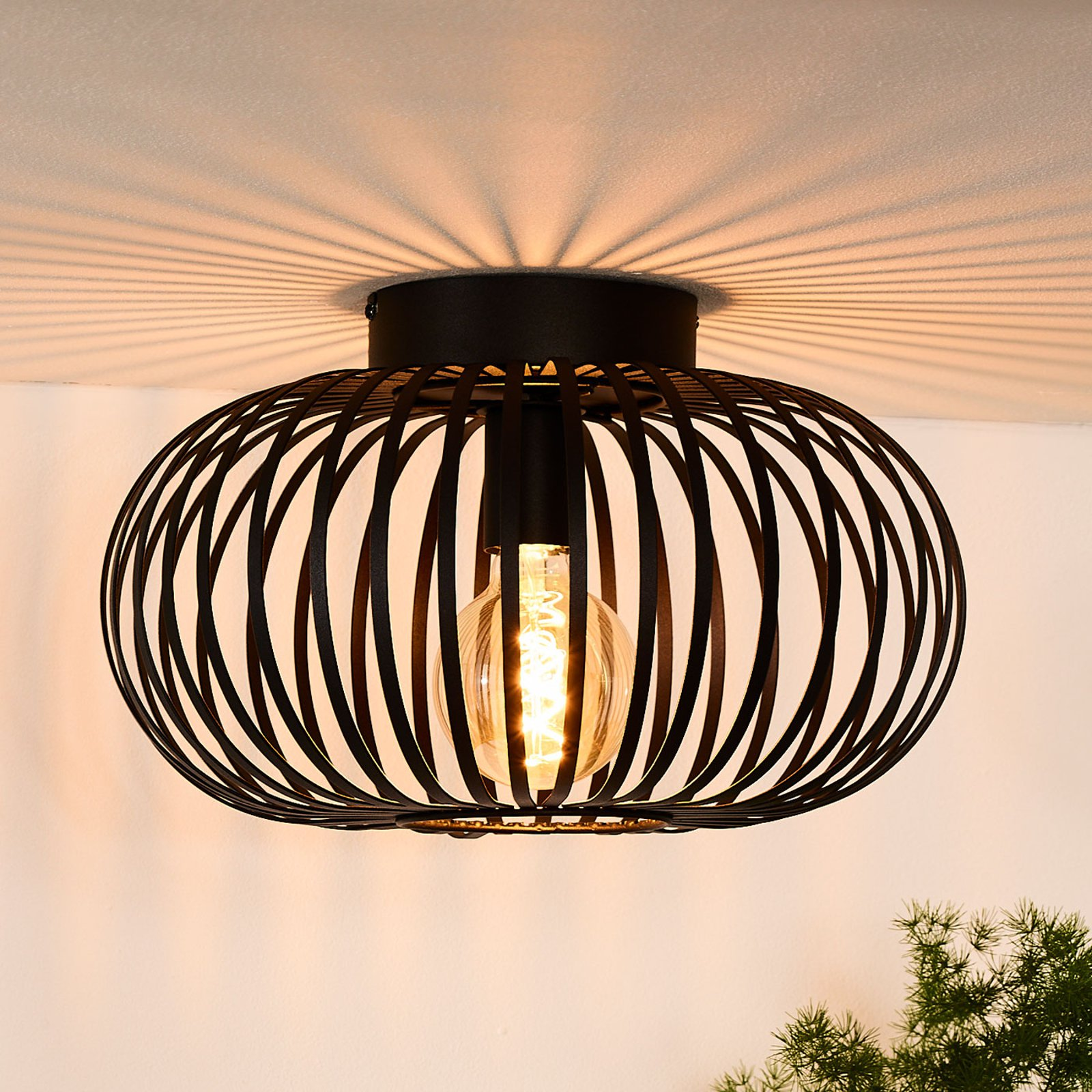 Bur-taklampe Manuela i svart, 40 cm