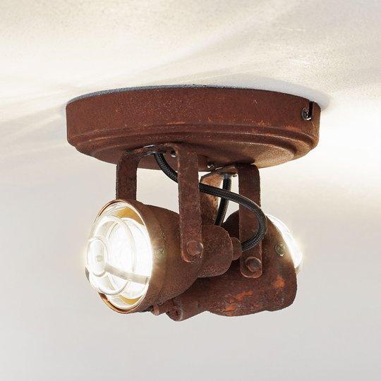 Kaksilamppuinen Bente-spottiplafondi ruoste